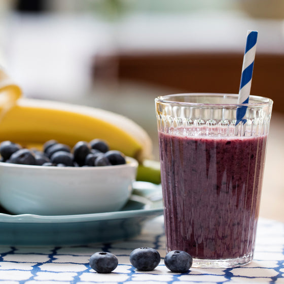 Kids' Banana Blueberry Smoothie with Chia and Soy Milk