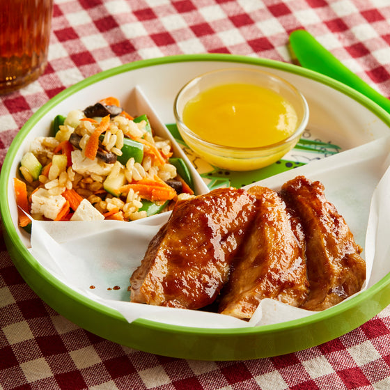 Kids' Chicken Teriyaki with Veggie Fried Rice and Mango