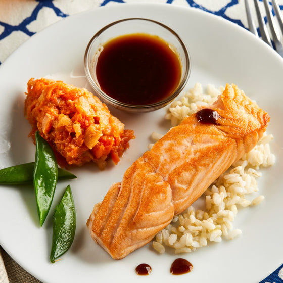 Kids' Salmon Teriyaki with Mashed Carrot and Apple