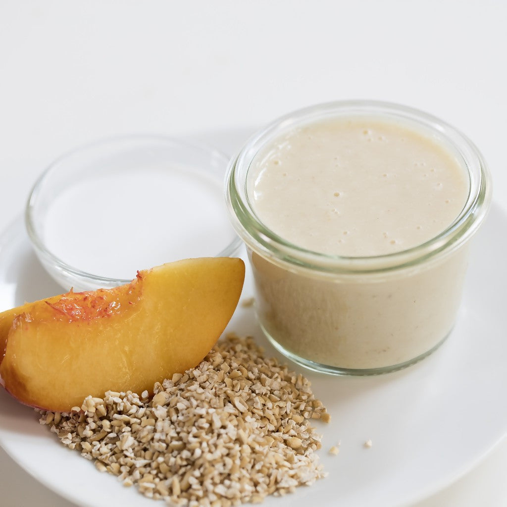 Fresh Organic Oatmeal Peaches and Cream Puree for Baby