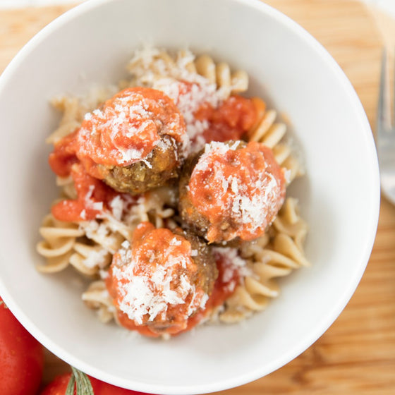 Kids Grassfed Meatballs with whole grain pasta and tomato veggie sauce