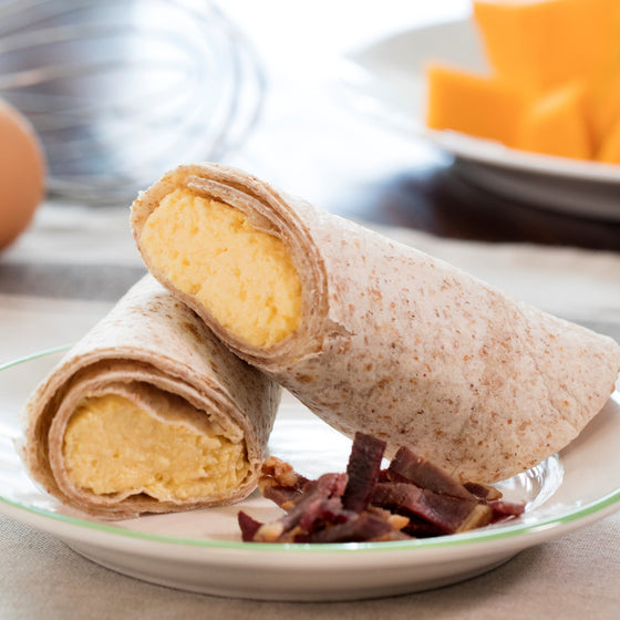 Kids' Scrambled Egg and Squash Breakfast Wrap with Duck Bacon