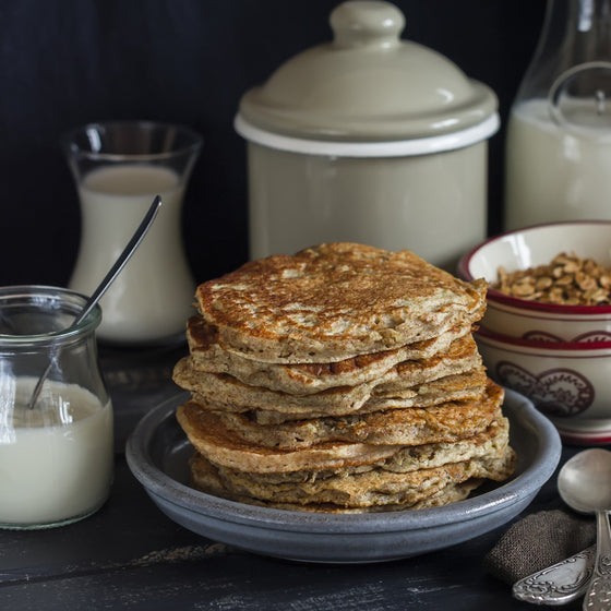 Whole grain buttermilk healthy pancakes for kids