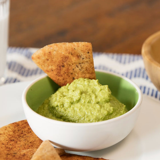 Kids' Green Pea Hummus with Pita Chips