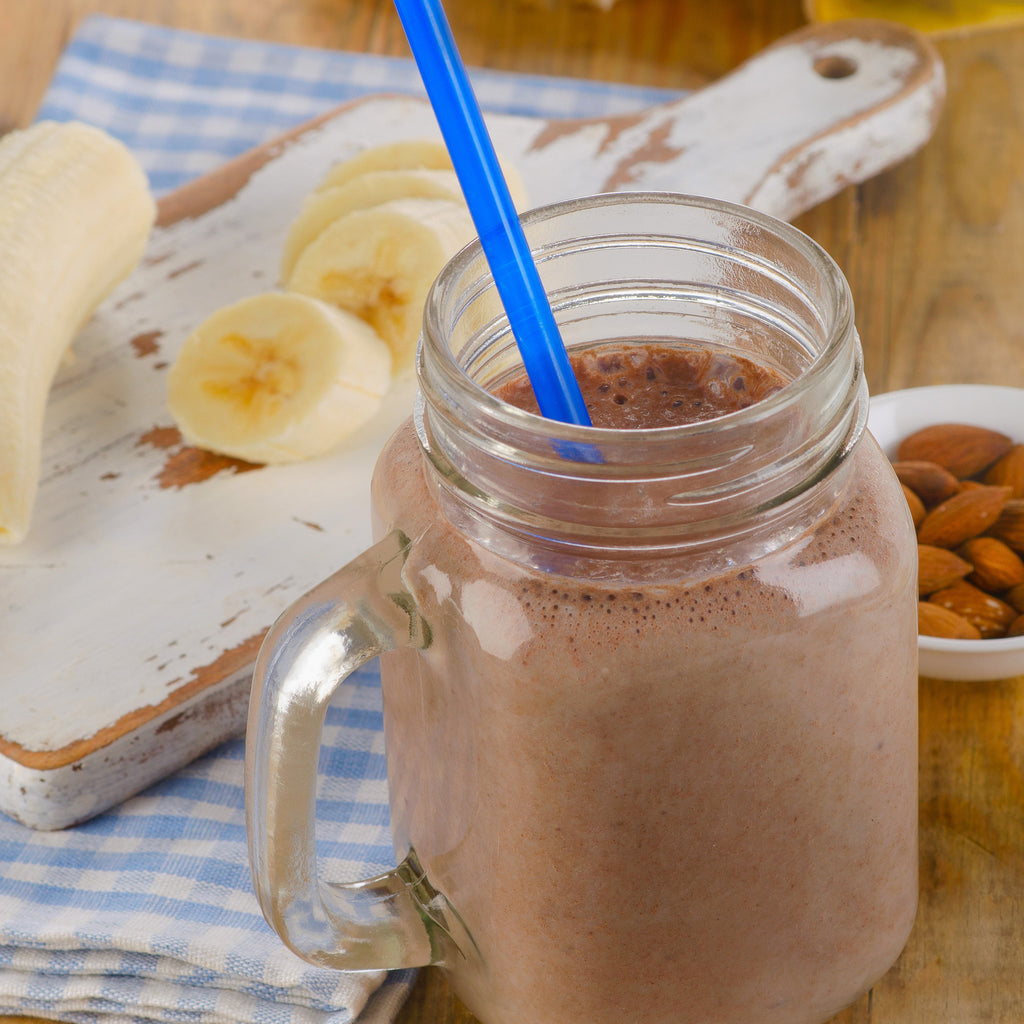Kids Banana Almond Smoothie with Raw Cacao