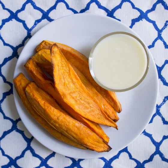 Kids roasted sweet potato wedges