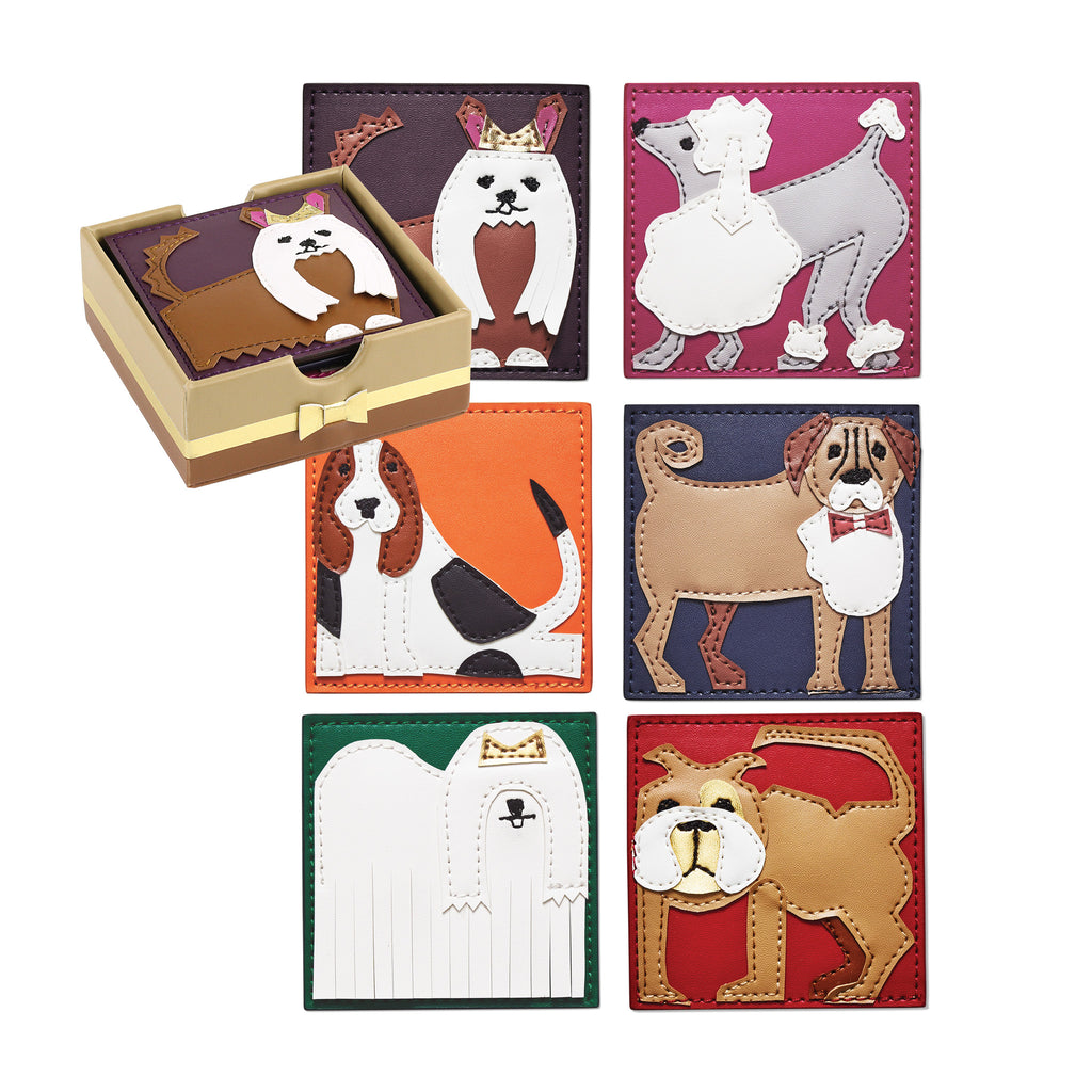 Pleather Pups Set of Six Coasters