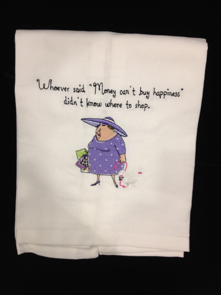Towel with humorous saying