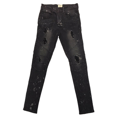 KDNK Spot Painted Brush Moto Denim Pant (Dark Medium Grey)