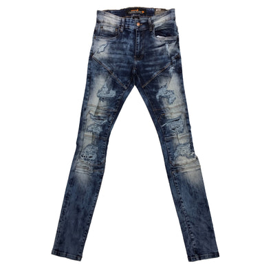 Copper Rivet Medium Sand Blue Ripped Biker Jean