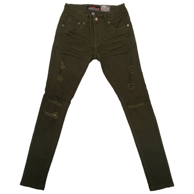 Copper Rivet Ripped Slim Jean (Olive)