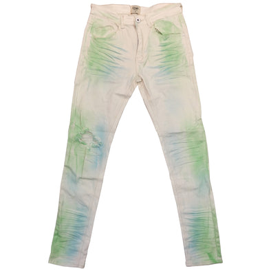KDNK Color Spray Denim Jean (White) - Fashion Landmarks