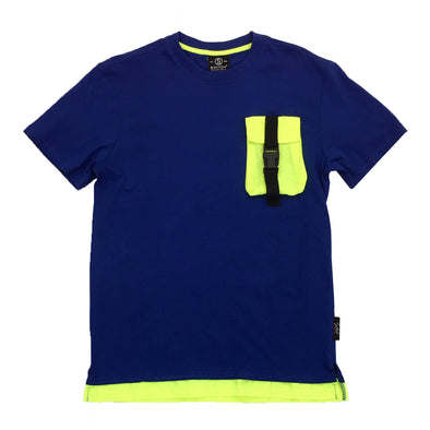 Switch Pocket Strap Tee (Blue/Lime) - Fashion Landmarks