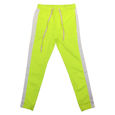 Huge Single Strip Track Pant (Neon Green/White)