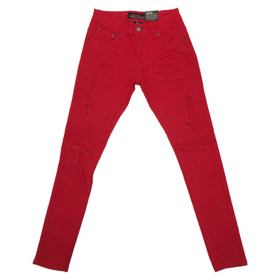 Copper Rivet Ripped Slim Jean (Red)