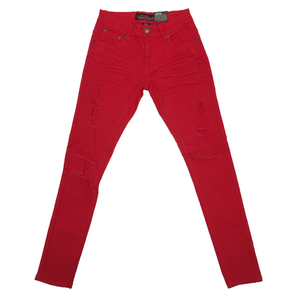 Copper Rivet Ripped Slim Jean (Red) - Fashion Landmarks