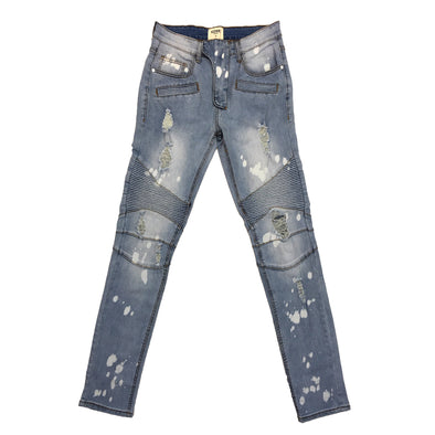 KDNK Spot Painted Brush Moto Denim Pant (Light Blue)