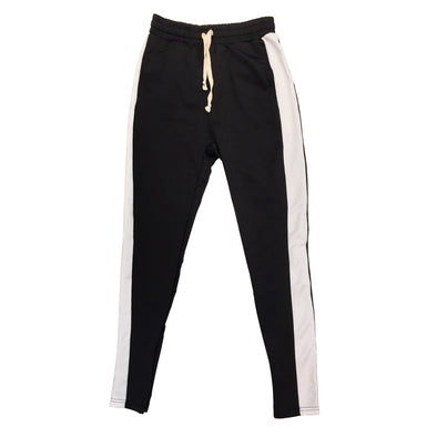 Huge Single Strip Track Pant (Black/White) - Fashion Landmarks
