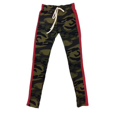 ROYAL BLUE SINGLE STRIP TRACK PANTS (Camo/Red)
