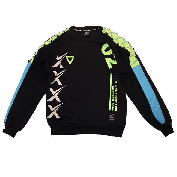 Switch Reflective Racing Crewneck (Black/Lime) - Fashion Landmarks