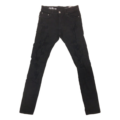Copper Rivet Ripped Wrinkle Jean (Black)