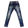 Copper Rivet Painted Ripped Jean (Medium Blue)