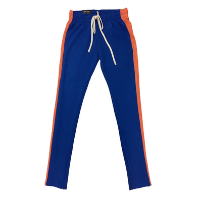 ROYAL BLUE SINGLE STRIP TRACK PANTS (Blue/Orange) - Fashion Landmarks