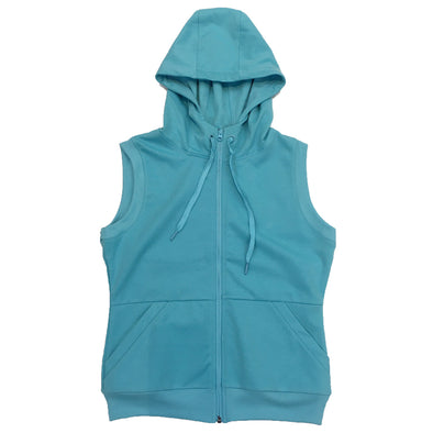 Riflessi Junior Zip-UP Sleeveless Hoodie (Aqua) - Fashion Landmarks