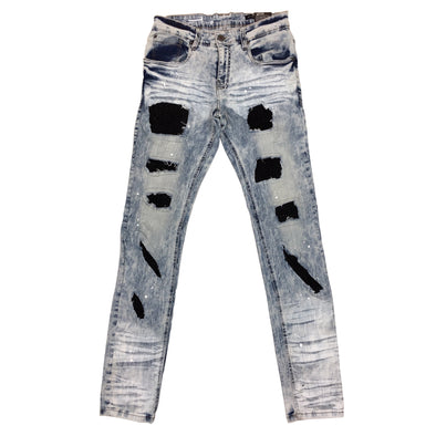 Copper Rivet Stone Embroidery Jean (Light Sand Blue)