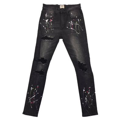 KDNK Dark Medium Grey Splatter Denim Jean