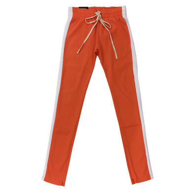 ROYAL BLUE SINGLE STRIP TRACK PANTS (Orange/White)