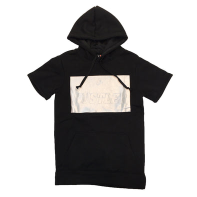 Huge Hustle Short Sleeve Hoodie (Black) - Fashion Landmarks