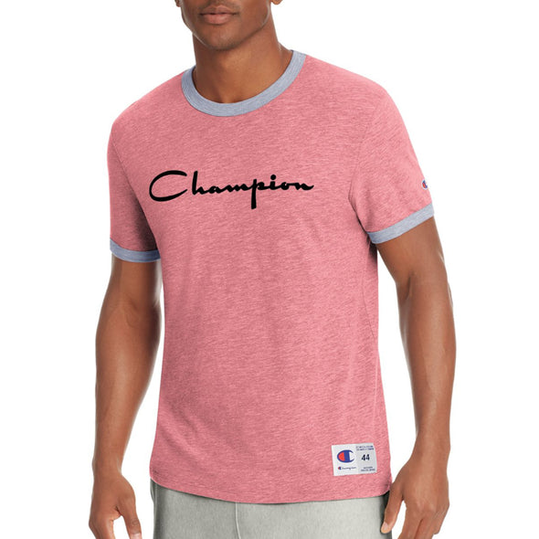 Champion Men's Heritage Ringer Tee, Flocked Script Logo (Red) - Fashion Landmarks
