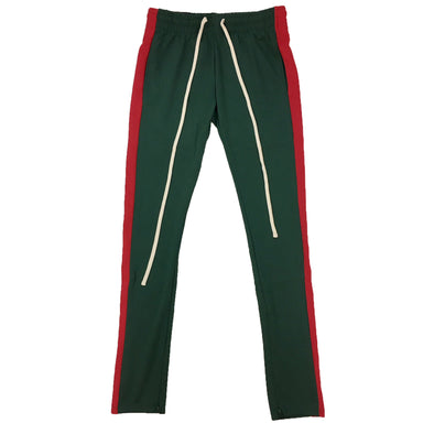 ROYAL BLUE SINGLE STRIP TRACK PANTS (Green/Red) - Fashion Landmarks