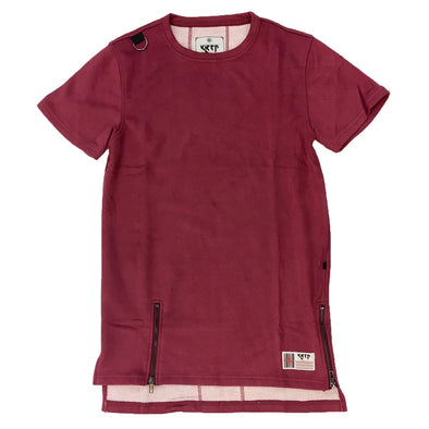 KLEEP Burgundy Suede Style Tee - Fashion Landmarks