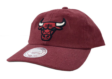 Mitchell & Ness Chicago Bulls Linen Slouch Dad Hat (Burgundy) - Fashion Landmarks