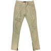 KDNK Side Bottom Zipper Ripped Khaki Denim Jean - Fashion Landmarks