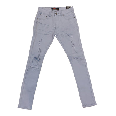 Copper Rivet Ripped Slim Jean (Sky Blue)