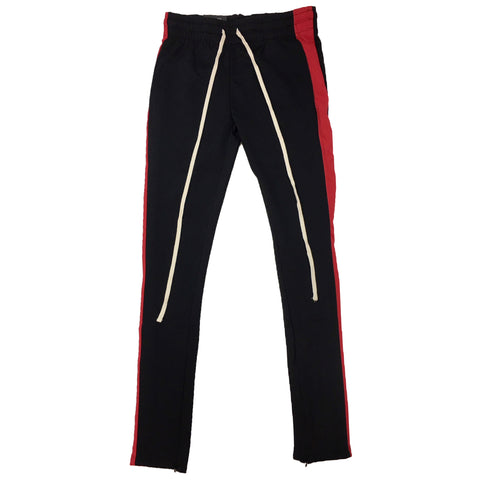 ROYAL BLUE SINGLE STRIP TRACK PANTS (Black/Red)