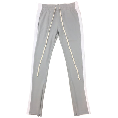 ROYAL BLUE SINGLE STRIP TRACK PANTS (Grey/White) - Fashion Landmarks