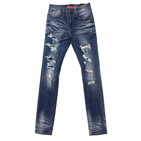 Copper Rivet Light Blue Ripped Slim Jean - Fashion Landmarks