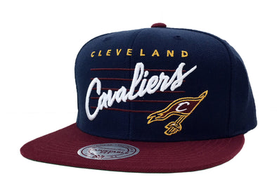 Mitchell & Ness Cleveland Cavaliers Cation Cursive Script Snapback Hat