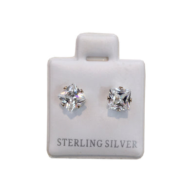 Plated Sterling Silver Cubic Stud Earrings (Square) - Fashion Landmarks