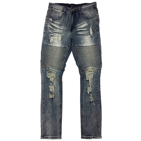 Grey Blue Destroy Biker Denim Pant