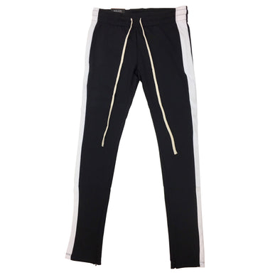 ROYAL BLUE SINGLE STRIP TRACK PANTS (Black/White) - Fashion Landmarks