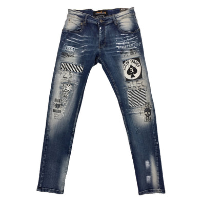 Copper Rivet Ace of Spades Patch Jean - Fashion Landmarks