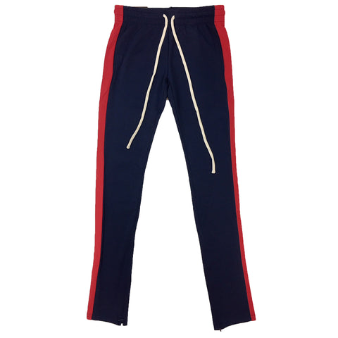 ROYAL BLUE SINGLE STRIP TRACK PANTS (Navy/Red)