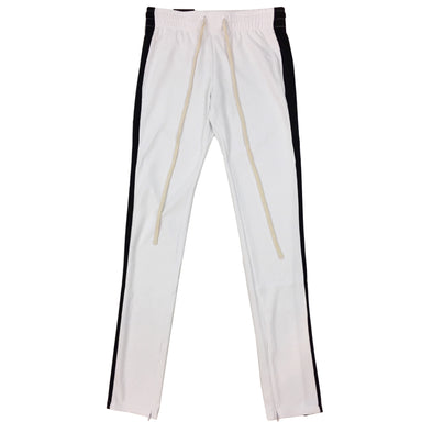 ROYAL BLUE SINGLE STRIP TRACK PANTS (White/Black) - Fashion Landmarks