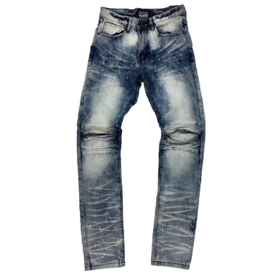 Smoke Rise Ciel Blue Punctured Denim Jean - Fashion Landmarks