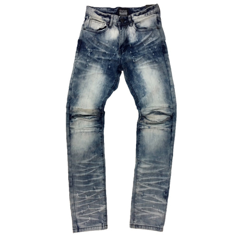 Smoke Rise Ciel Blue Punctured Denim Jean
